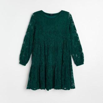 Reserved - Koronkowa sukienka - Khaki
