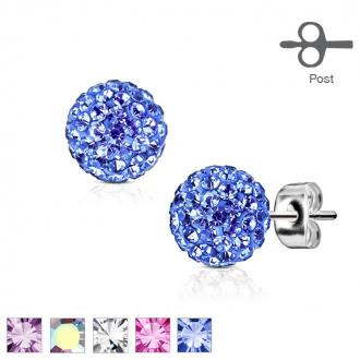 Stalowe kolczyki w srebrnym kolorze - kuleczka ozdobiona drobnymi błyszczącymi kryształkami, 7 mm - Kolor: Tęczowy
