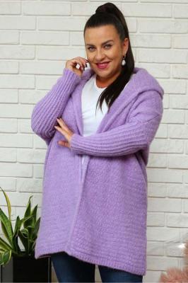 Sweter kardigan kimono z kapturem PETRA liliowy