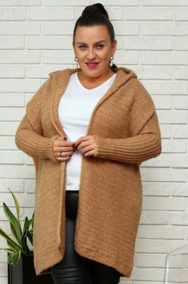 Sweter kardigan kimono z kapturem PETRA karmelowy