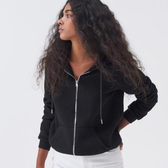 Sinsay - Rozpinana bluza z kapturem - Czarny