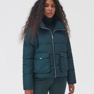 Sinsay - Pikowana kurtka z wysoką stójką - Khaki