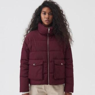 Sinsay - Pikowana kurtka z wysoką stójką - Fioletowy