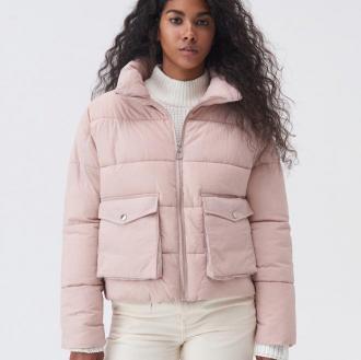 Sinsay - Pikowana kurtka z wysoką stójką - Różowy