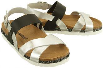 DR BRINKMANN 710790-92 silber/schwarz, sandały profilaktyczne damskie