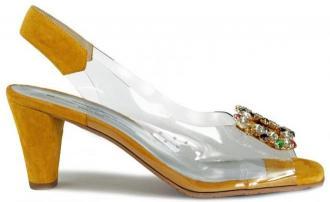 BRENDA ZARO T3612 żółty, sandały damskie