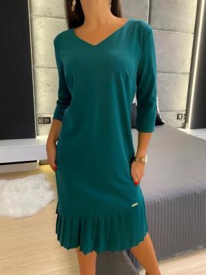 Zielona Sukienka z Falbanką 4975-316-H
