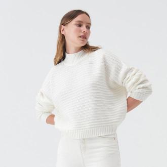 Sinsay - Krótki sweter ze wzorem - Kremowy