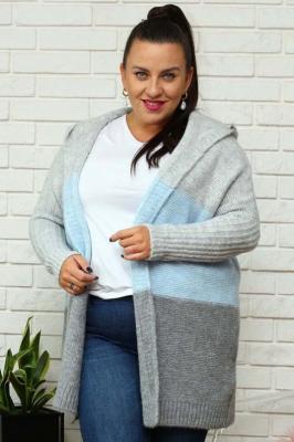 Sweter kardigan z kapturem BLANKA w pasy szaro-niebieskie