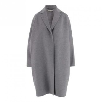 coat with concealed front button fastening