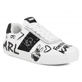 Sneakersy KARL LAGERFELD - KL60106  White Lthr W/Black 010