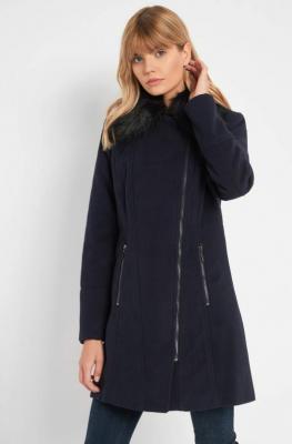 Płaszcz ze sztucznym futerkiem