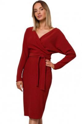Elegancka dzianinowa sukienka z kopertową luźną górą - Czerwony