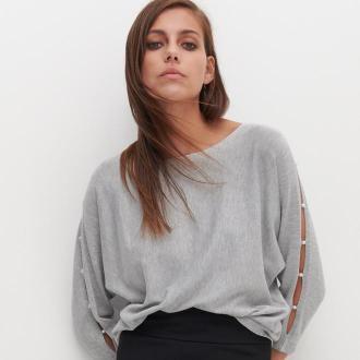 Reserved - Sweter z wycięciami na rękawach - Szary