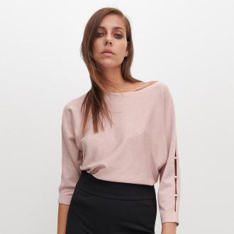 Reserved - Sweter z wycięciami na rękawach - Różowy