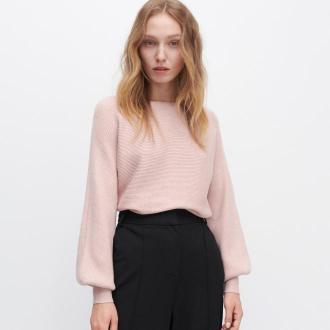 Reserved - Sweter z prążkowanej dzianiny - Różowy