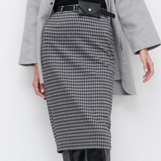 Reserved - Spódnica w kratę z paskiem z saszetką - Wielobarwny