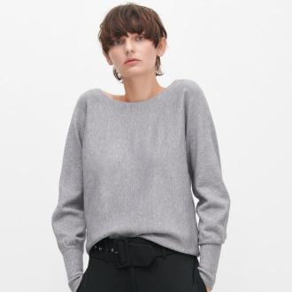 Reserved - Sweter z dekoltem na plecach - Jasny szary