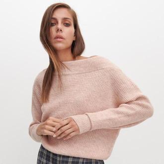 Reserved - Sweter z luźnym splotem - Różowy