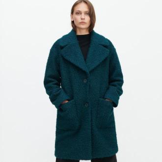 Reserved - Płaszcz z tkaniny boucle - Zielony