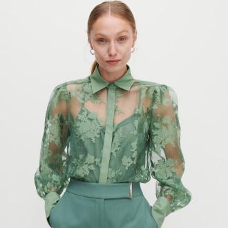 Reserved - Transparentna koszula w kwiaty - Zielony