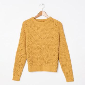 House - Ażurowy sweter - Żółty