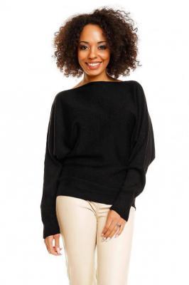Miękki nietoperzowy sweter oversize - Czarny
