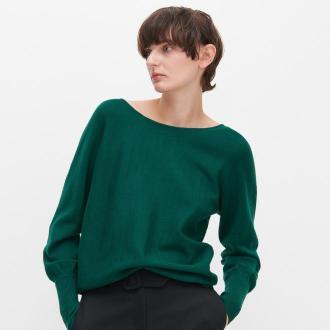 Reserved - Sweter z dekoltem na plecach - Khaki