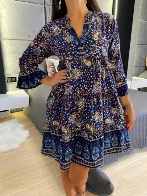 Granatowa Sukienka w Orientalny Wzór 4744-63-E