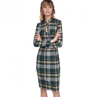 Colett Wzorzysta sukienka ze stójką i dekoltem typu łezka Sukienki