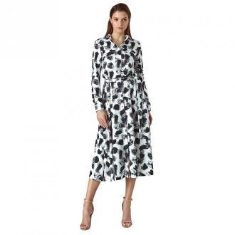 Colett Wzorzysta sukienka z koszulową górą - Sukienki Biały Dorośli