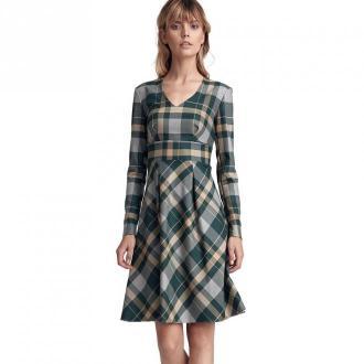 Colett Wzorzysta sukienka z dwoma kontrafałdami Sukienki Zielony