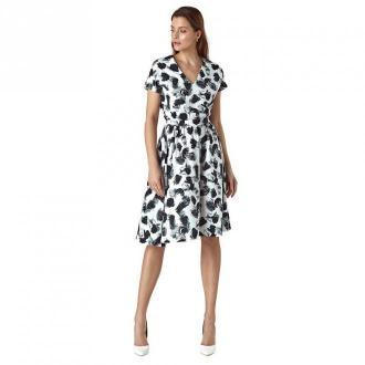 Colett Wzorzysta sukienka z paskiem w talii Sukienki Biały Dorośli