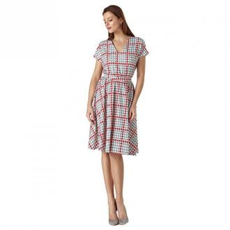 Colett Wzorzysta sukienka z paskiem w talil Sukienki Niebieski Dorośli