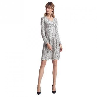 Colett Wzorzysta sukienka z dwoma kontrafałdami Sukienki Szary Dorośli