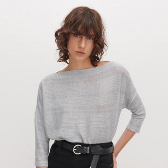 Reserved - Sweter z domieszką błyszczącej nitki - Jasny szary