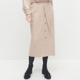 Reserved - Spódnica z melanżowej dzianiny - Beżowy