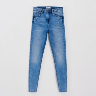 Cropp - Jeansy skinny z przetarciami - Niebieski