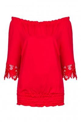Bluzka hiszpanka KARIM gipiura czerwona