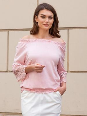 Bluzka hiszpanka KARIM gipiura pudrowy róż