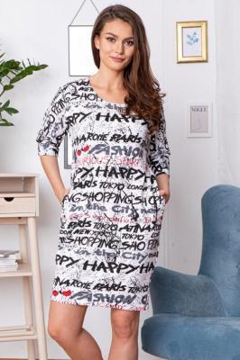 Sukienka tuba dzianinowa ANISA ecru w napisy PROMOCJA
