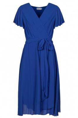 Sukienka z kopertowym dekoltem wiązana w pasie ISABELLA chabrowa PROMOCJA