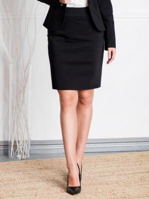Spódnica ołówkowa ARLETA ozdobna kokardka na kieszonce czarna