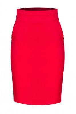 Spódnica ołówkowa ARLETA ozdobna kokardka na kieszonce czerwona