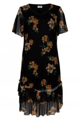 Sukienka trapezowa falbanki HORTENSJA czarna w kwiaty PROMOCJA