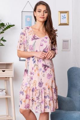 Sukienka na komunie trapezowa falbanki HORTENSJA puder róż w kwiaty PROMOCJA