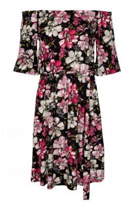Sukienka w kwiaty hiszpanka ADRIANA granatowa w szaro-różowe kwiaty PROMOCJA