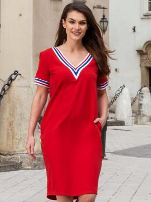 Sukienka na codzień dresowa LETNIA ze ściągaczami AGATA czerwona z biało-czerwonym paseczkiem PROMOCJA