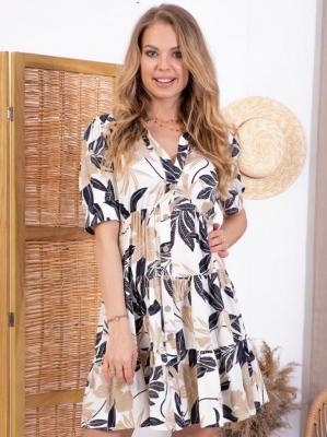 Sukienka szmizjerka rozpinana letnia z falbankami OLENA wiskoza ecru w granatowo - beżowe liście PROMOCJA