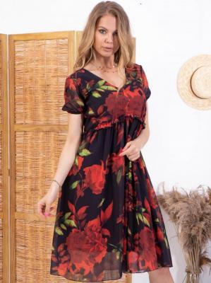 Sukienka w kwiaty szyfonowa RÓŻA letnia ozdobna falbanka granatowa w czerwone kwiaty PROMOCJA